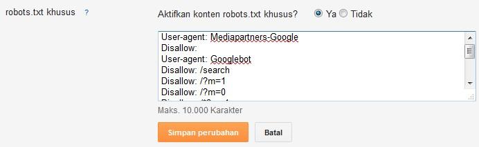 Cara Setting Robot.txt di Blogger,Setting Robot.txt di Blogger,Robot.txt di Blogger